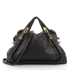 Chloe Paraty Top Handle Bag Leather Large Black 3502902