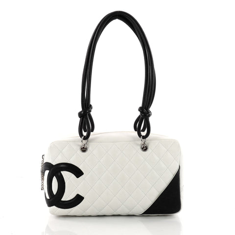 4ba931620e5f Buy Chanel Cambon Bowler Bag Quilted Leather Medium White 3503303 – Rebag