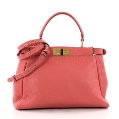Fendi Selleria Peekaboo Handbag Leather Regular Pink 3504601