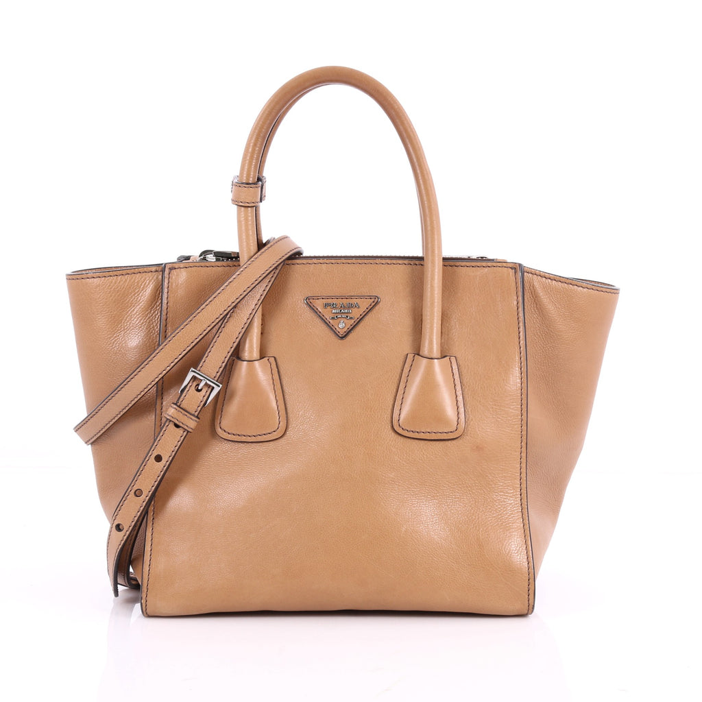 c17f44448f1dce Buy Prada Twin Pocket Tote Glace Calf Small Brown 3505203 – Rebag