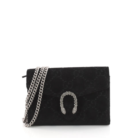 Buy Gucci Dionysus Chain Wallet GG Velvet Small Black 3508201 – Rebag f2849d7ef1f29