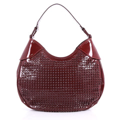 Burberry Elly Hobo Studded Patent Small Red 3509701