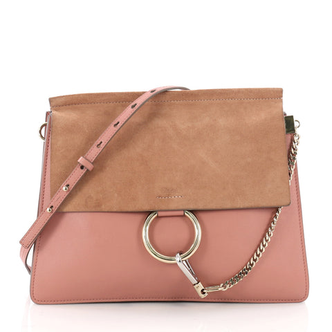 fe61c12589 Chloe Faye Shoulder Bag Leather and Suede Medium Pink 3510701 – Rebag