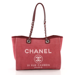 Chanel Deauville Chain Tote Canvas Small Red 3514203