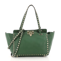 Valentino Rockstud Tote Soft Leather Small Green 3515003