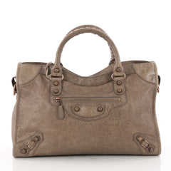 Balenciaga City Giant Studs Handbag Leather Medium Brown 3515006