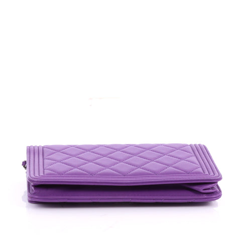 Buy Chanel Boy Wallet on Chain Quilted Lambskin Purple 3515301 – Rebag 7e87e26cc4a20