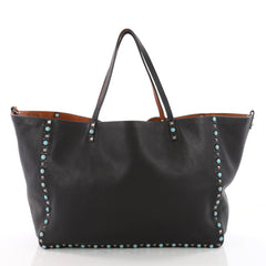 Valentino Rolling Rockstud Reversible Convertible Tote Leather with Cabochons Large Black 3515504
