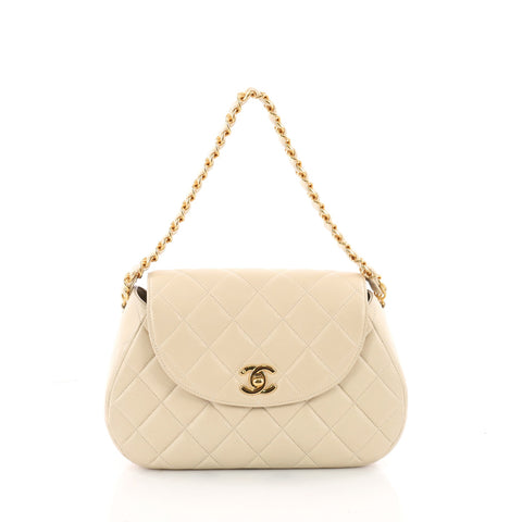 e78cd06bc140 Buy Chanel Vintage Round Flap Bag Quilted Lambskin Medium 3515701 – Rebag