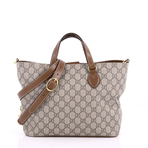 d8222b0e4893 Gucci Convertible Soft Tote GG Coated Canvas Small Gray 3518102 – Rebag