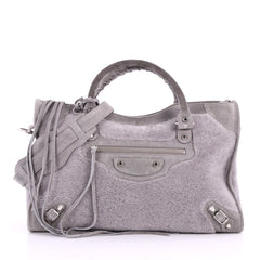 Balenciaga City Classic Studs Handbag Shearling with Suede Medium Gray 3519501