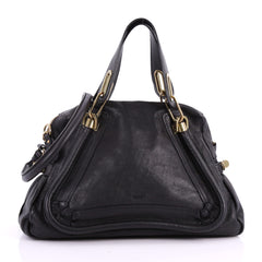 Chloe Paraty Top Handle Bag Leather Medium Black 3519502
