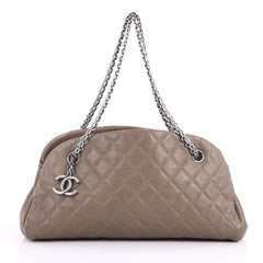 Chanel Just Mademoiselle Handbag Quilted Caviar Medium 3520204