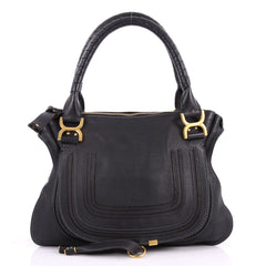 Chloe Marcie Satchel Leather Medium Black 3524203