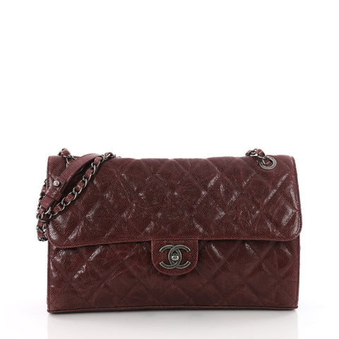 968817b244c17a Buy Chanel CC Crave Flap Bag Quilted Glazed Caviar Jumbo Red 3524402 – Rebag