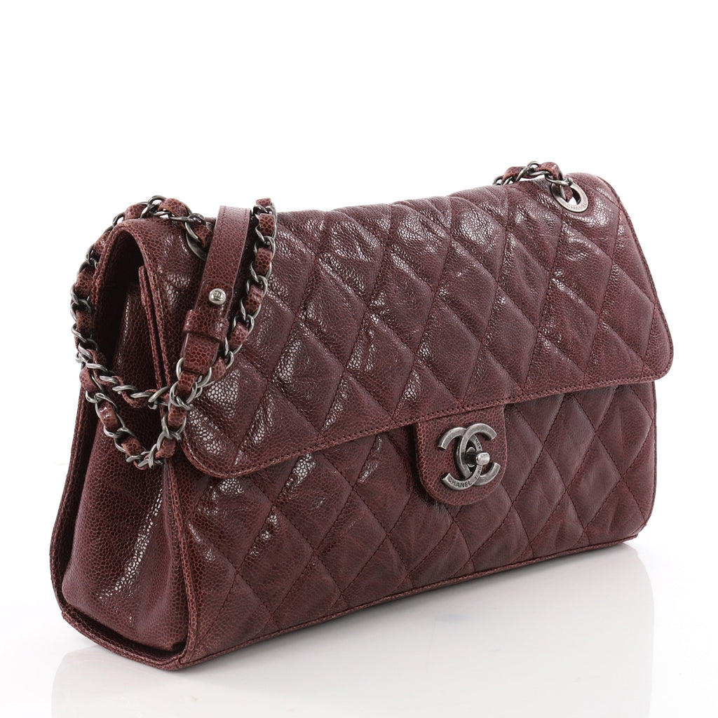 b9dc1fff359faf Buy Chanel CC Crave Flap Bag Quilted Glazed Caviar Jumbo Red 3524402 ...