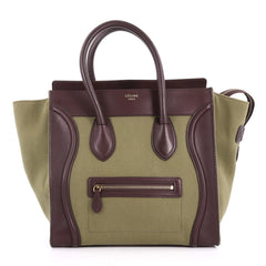 Celine Luggage Handbag Canvas and Leather Mini Green 3529802