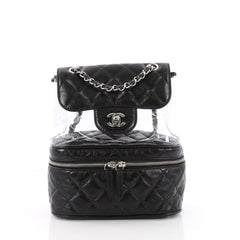 Chanel Zip Around Flap Backpack Quilted Crumpled Calfskin and PVC Small Black 3532803