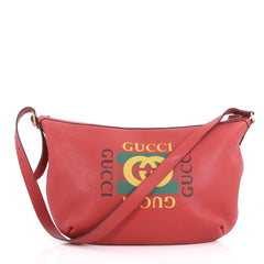 Gucci Logo Half-Moon Hobo Printed Leather Red 3535301