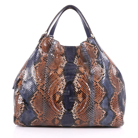 bce4e92f492b Buy Gucci Soho Shoulder Bag Python Large Brown 3535304 – Rebag