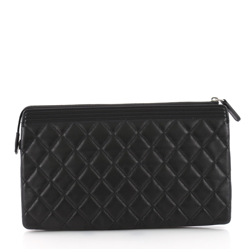 6c020eb9d698d1 Buy Chanel Boy Zipped Pouch Quilted Lambskin Medium Black 3538303 ...