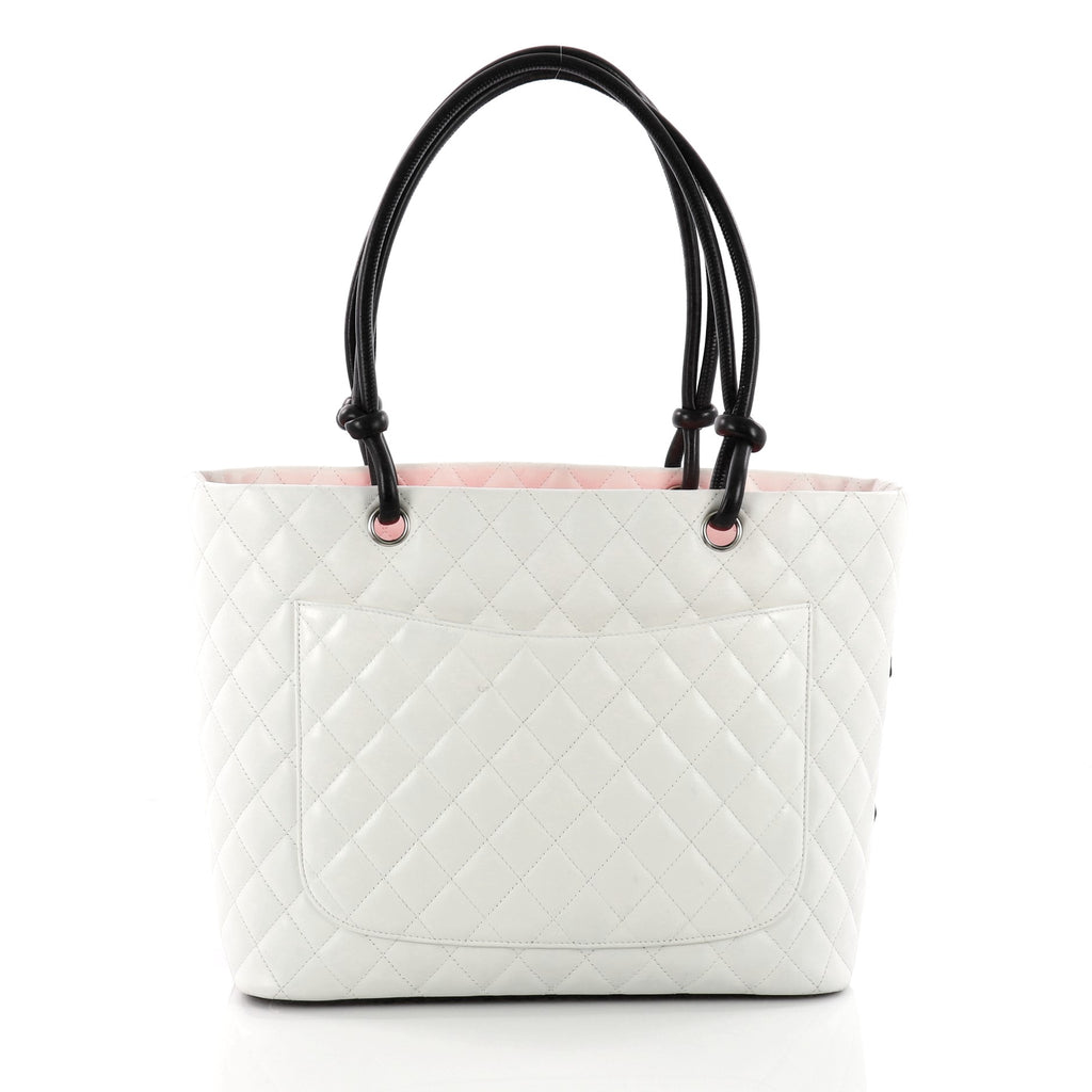 7dc128bc9135 Buy Chanel Cambon Tote Quilted Leather Large White 3540001 – Rebag