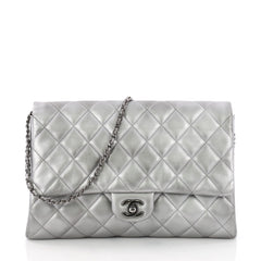 Clutch with Chain Quilted Lambskin