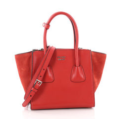 Prada Twin Pocket Tote Glace Calf and Suede Mini Red 3544002