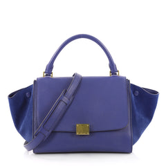 Celine Trapeze Handbag Leather Small Blue 3544402