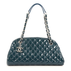 Chanel Just Mademoiselle Handbag Quilted Patent Medium Green 3544902