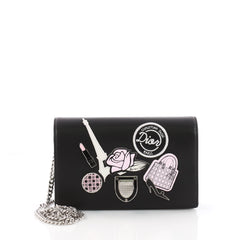 Christian Dior Diorama Wallet on Chain Patch Embellished Black 3545502