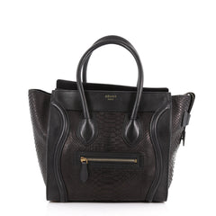 Celine Luggage Handbag Python Micro Black 3545901