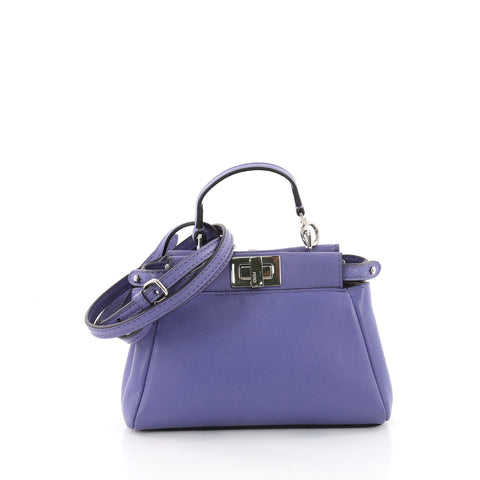 bd5fe5a37f1f Buy Fendi Peekaboo Handbag Leather Micro Purple 3546803 – Rebag