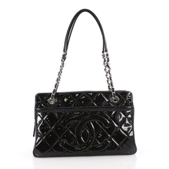 Chanel Timeless CC Shopping Tote Quilted Patent Medium Black 35546/01