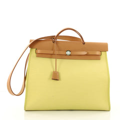 Hermes Herbag Zip Leather and Toile 39 Yellow 3554702