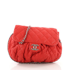 Chanel Chain Around Flap Bag Quilted Leather Large Red 3554808