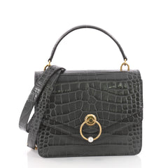 Mulberry Harlow Satchel Crocodile Embossed Leather Medium Gray 3556001