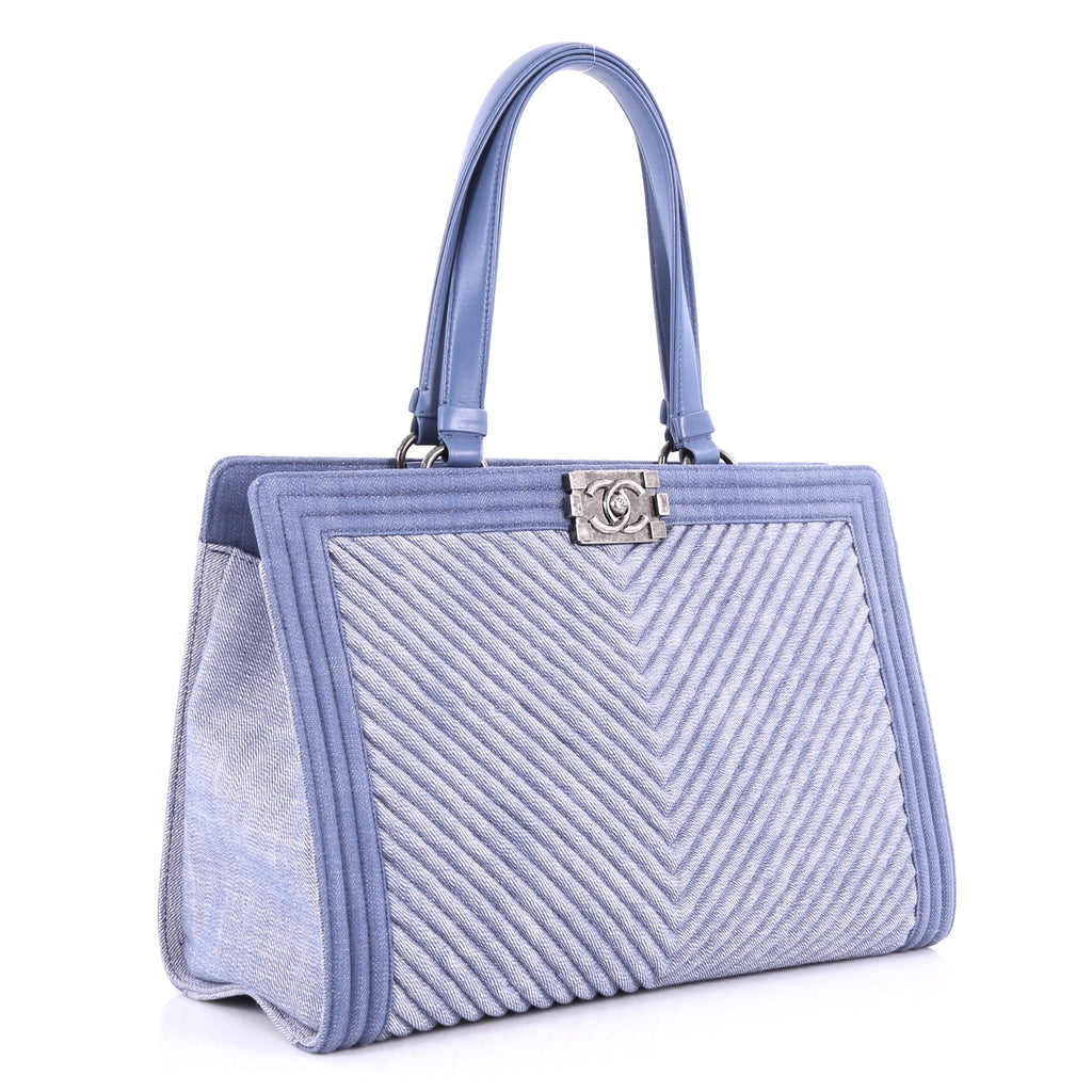 Chanel Boy Shopping Tote Chevron Denim Blue – Rebag b947335e7a21b