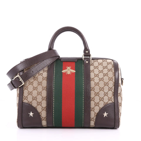Buy Gucci Vintage Bee Web Boston Bag GG Canvas Medium Brown 3559602 – Rebag 390b63142495a