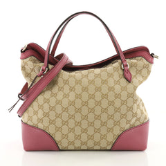 37089a8e2940 Gucci Bree Convertible Top Handle Bag GG Canvas with Leather Medium Brown  3559604