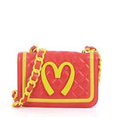 Moschino Happy Meal Shoulder Bag Leather Medium Red 3560304