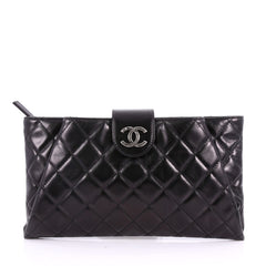 Chanel Coco Pleats Clutch Quilted Glazed Calfskin Black 3560701
