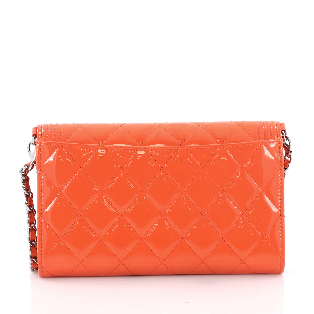 853879064188 Chanel Boy Wallet on Chain NM Quilted Patent Small Orange 3560802 ...