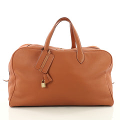 Hermes Victoria II Travel Bag Clemence 50 Brown 3561303