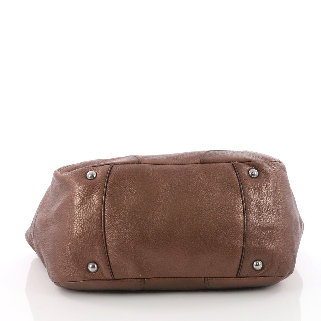 b3c11ae09c5e48 Buy Prada Side Pocket Hobo Vitello Daino Medium Brown 3561405 – Rebag