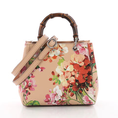 Gucci Bamboo Shopper Tote Blooms Print Leather Mini Pink 3563001