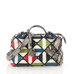 Fendi By The Way Satchel Patchwork Python Small Gray 3563003