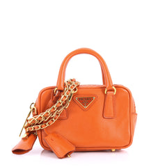 Prada Bauletto Handbag Saffiano Leather Mini Orange 3564602