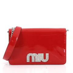 Miu Miu My Logo Chain Wallet Patent Red 3567401