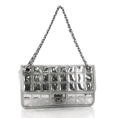 Chanel Ice Cube Flap Bag Quilted Vinyl Gray 3567622